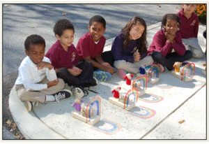 The Kindergarten with their Noah and rainbow project.